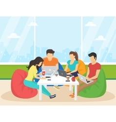 Group creative people using smartphone laptop vector
