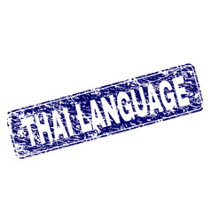 Grunge thai language framed rounded rectangle vector