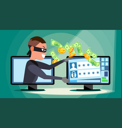 hacking concept hacker using personal vector image