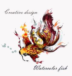 Hand drawn goldfish in watercolor style from ink vector