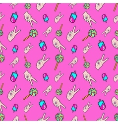 Hands and Ice Cream Seamless Pattern vector image