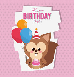 happy birthday to you squirrel cartoon vector image
