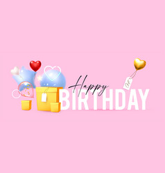 happy birthday with foil balloons and gift box vector image