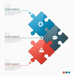infographic template with 3 puzzle sections vector image