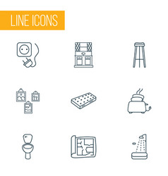 interior icons line style set with barstool house vector image