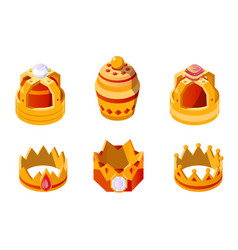isometric golden king or queen crown set with gems vector image