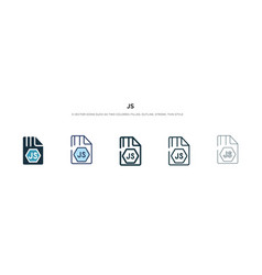 Js icon in different style two colored and black vector