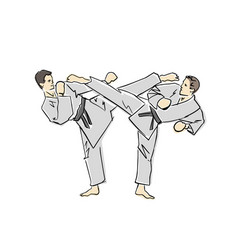 Karate judo fight black contour isolated colors vector