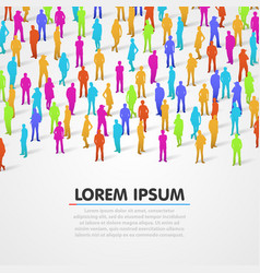 Large group of colorful people silhouette vector