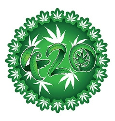 Marijuana symbolic 420 text design green sticker vector image