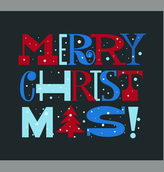 merry christmas fun bright doodle type card vector image