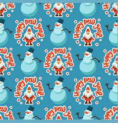 merry christmas greeting card seamless pattern vector image