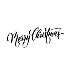merry christmas quote greeting card calligraphy vector image