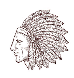 native indian chief sketch feathers headdress vector image