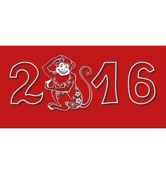 Numbers 2016 with MonkeyChinese zodiacRed vector image