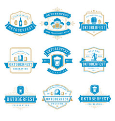 oktoberfest celebration beer festival badges vector image