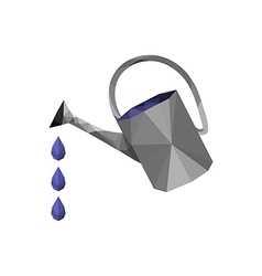 origami watering can with water drops vector image