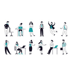 outline business characters happy flat persons vector image