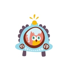 Owl Driving A Car With Blinker Stylized Fantastic vector image