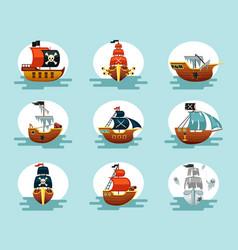 pirate cartoon ships set play corsair schooners vector image