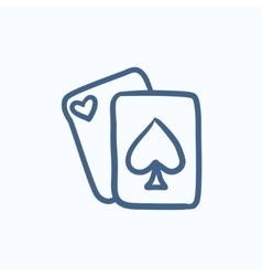 Playing cards sketch icon vector image