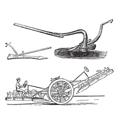 Plough vintage engraving vector image