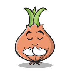 praying onion character cartoon collection vector image