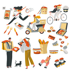 quick food delivery in time deliveryman with meal vector image