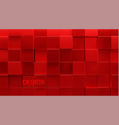 Red mosaic background random cubes backdrop vector