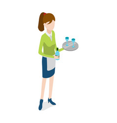 restaurant waitress with metal tray and bottle vector image