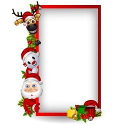 santa claus deer and snowman vector image