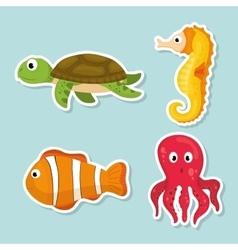 Sea fauna cartoon vector