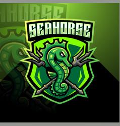 seahorse esport mascot logo design vector image
