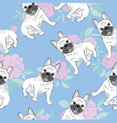 Seamless pattern with cute french bulldog on vector
