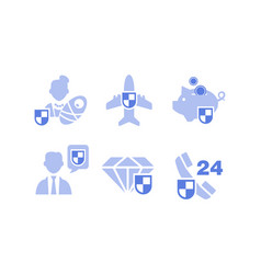 set insurance service icons deposit family vector image