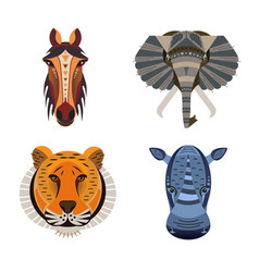 set of african animals geometric of tiger horse vector image