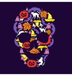 Skull of the day of halloween vector