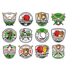 Softball baseball club emblems bat and ball team vector