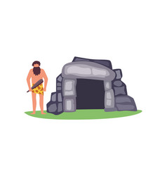 Stone age house with primitive man character flat vector
