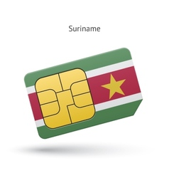 Suriname mobile phone sim card with flag vector