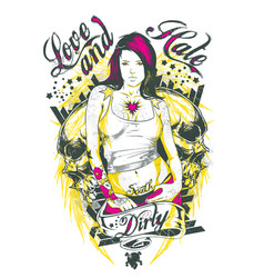 tattoo girl vector image