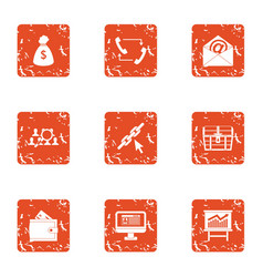 team for money icons set grunge style vector image
