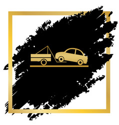 tow truck sign golden icon at black spot vector image