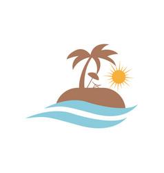 travel logo design beach sun wave summer vector image