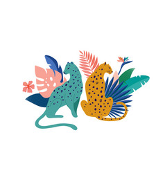 tropical exotic animals and birds - leopards vector image