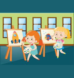 Two girls painting on canvas in classroom vector