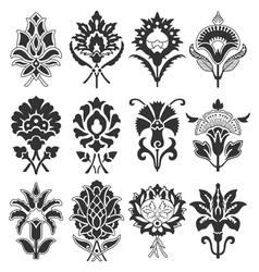 Vintage flower set vector