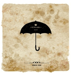 Vintage postcard Retro umbrella on grunge vector image