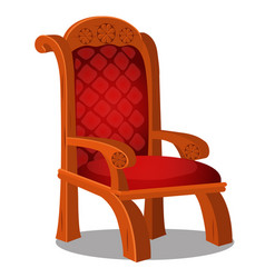 Vintage wood chair with red upholstered isolated vector