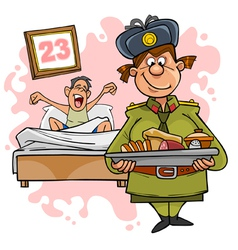 woman in military uniform with a tray of food vector image